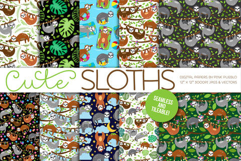 Sloth Patterns or Digital Papers - PinkPueblo