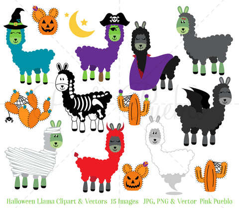 Halloween Llama Clipart and Vectors - PinkPueblo