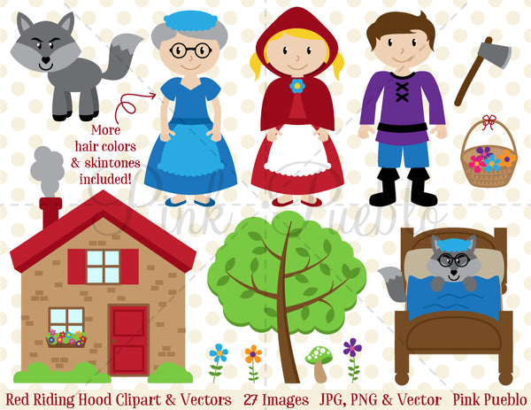 Little Red Riding Hood Clipart and Vectors - PinkPueblo