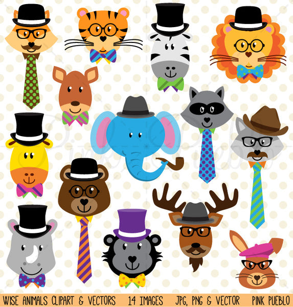 Wise Hipster Animals Clipart and Vectors