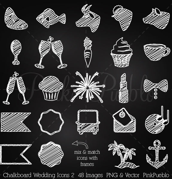 Chalkboard Wedding Icons 2 Clipart and Vectors - PinkPueblo