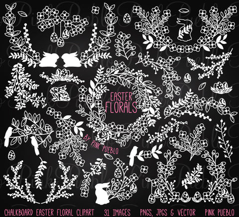 Chalkboard Easter Laurels or Flowers Clipart - PinkPueblo