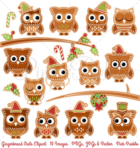 Gingerbread Owls Clipart and Vectors - PinkPueblo