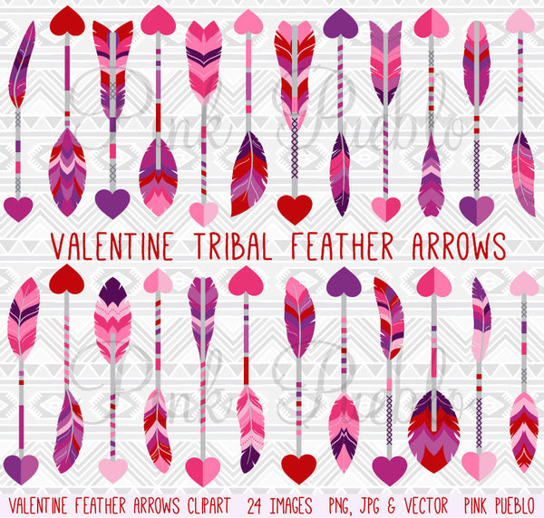 Valentine's Day Feather Arrows Clipart and Vectors - PinkPueblo
