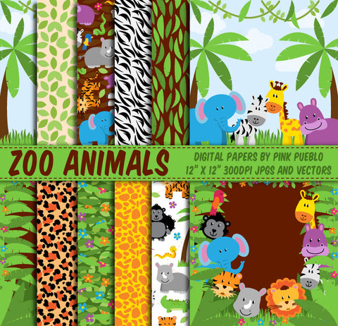 Zoo Animal Patterns and Backgrounds - PinkPueblo