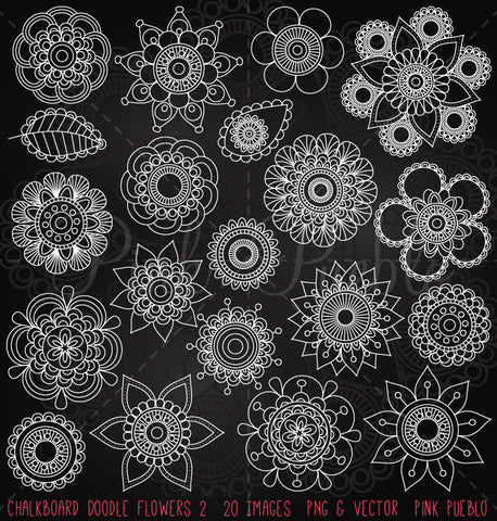 Chalkboard Doodle Flowers Clipart and Vectors - PinkPueblo