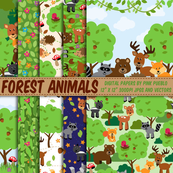 Forest Animal Digital Paper and Backgrounds
