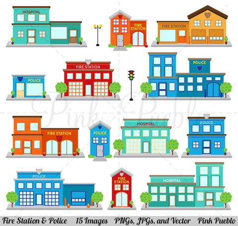 Fire Station & Police Clipart and Vectors - PinkPueblo