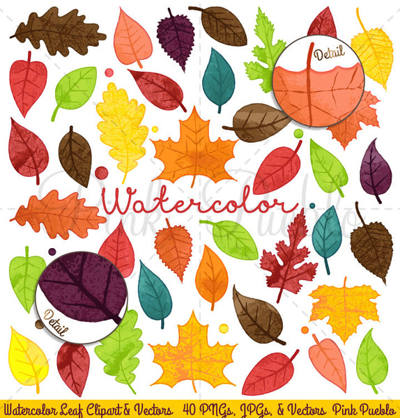 Watercolor Leaves Clipart & Vectors - PinkPueblo