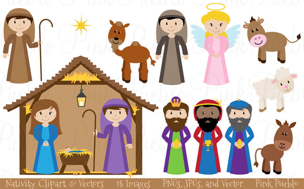 Christmas Nativity Clipart & Vectors - PinkPueblo