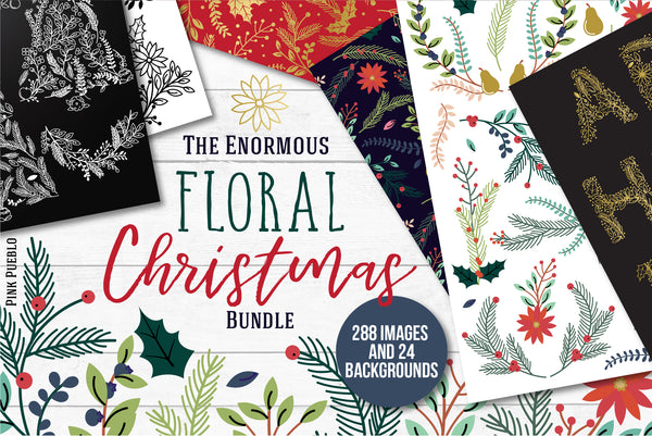 Floral Christmas Clipart and Digital Paper Bundle