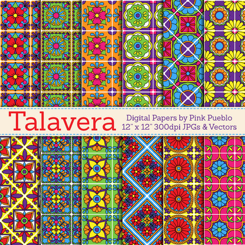 Talavera Digital Papers and Backgrounds - PinkPueblo