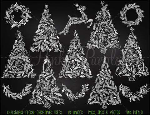 Chalkboard Floral Christmas Tree Clipart and Vectors