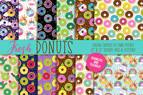 Seamless Donut Backgrounds or Papers - PinkPueblo