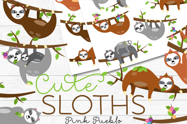 Cute Sloth Clipart and Vectors - PinkPueblo