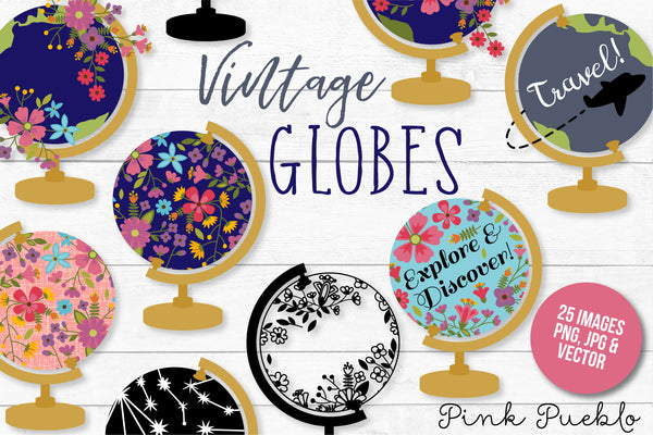 Vintage Globe Clipart and Vectors - PinkPueblo