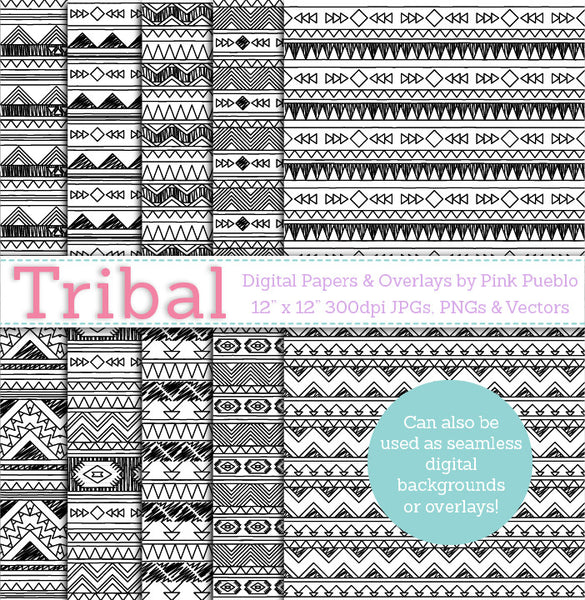 Tribal Seamless Backgrounds and Overlays - PinkPueblo