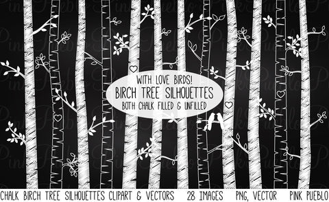 Chalkboard Birch Tree Clipart/Vector - PinkPueblo