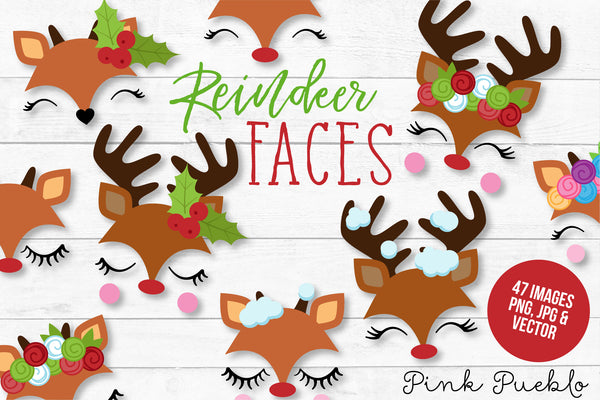 Reindeer Face Clipart and Vectors - PinkPueblo