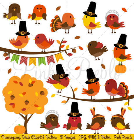 Thanksgiving Birds Clipart & Vectors - PinkPueblo