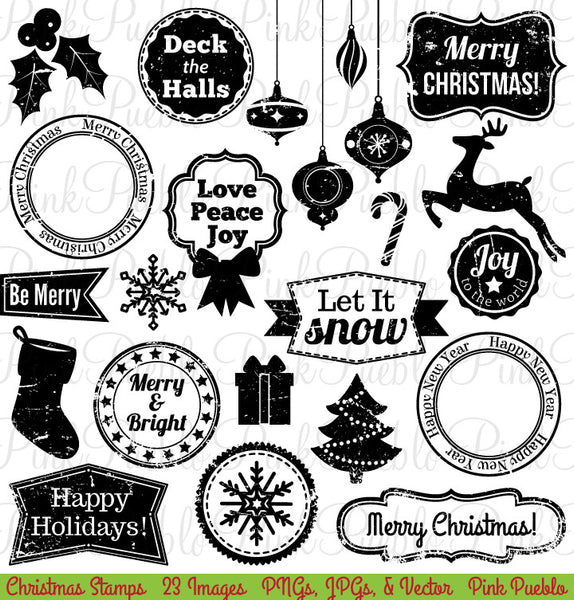 Christmas Stamps Clipart and Vectors - PinkPueblo