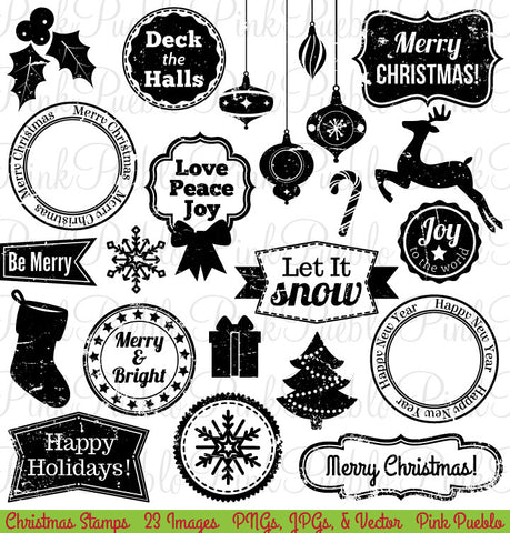 Christmas Stamps Clipart and Vectors