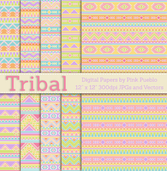 Seamless Tribal Pattern Backgrounds or Papers - PinkPueblo