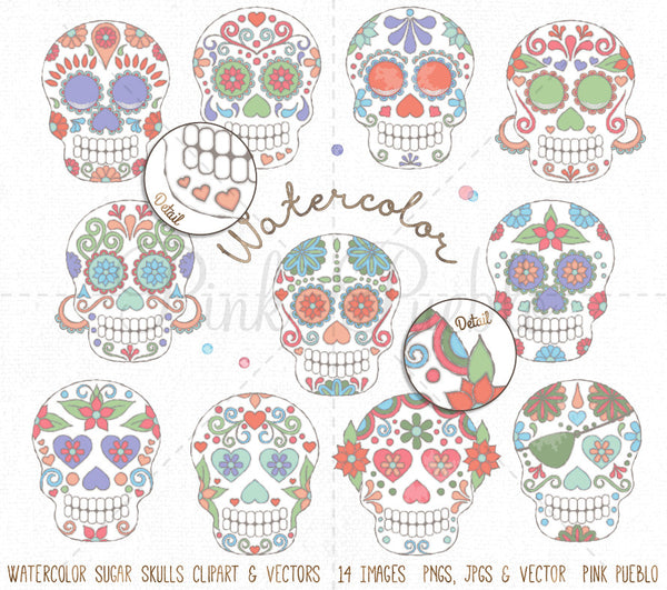 Watercolor Day of the Dead Skulls Clipart and Vectors