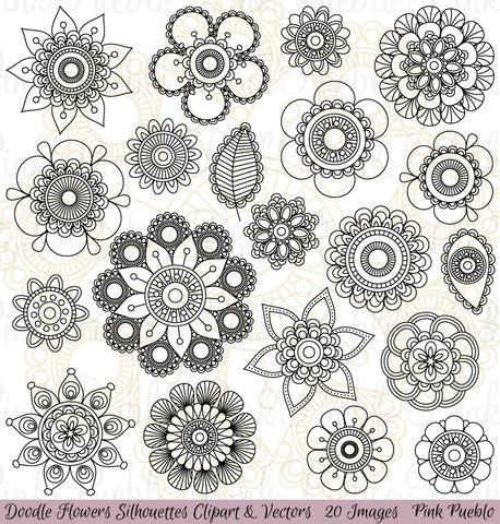Doodle Flowers Clipart and Vectors - PinkPueblo