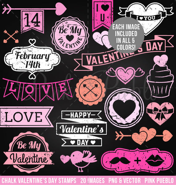 Chalkboard Valentine's Day Stamps Clipart and Vectors - PinkPueblo
