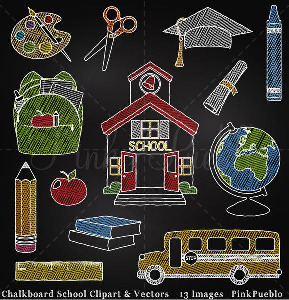 Chalkboard Back to School Clipart and Vectors