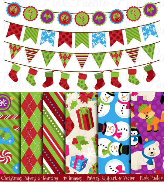 Christmas Digital Papers & Bunting