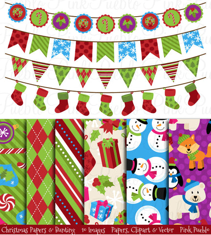 Christmas Digital Papers & Bunting - PinkPueblo