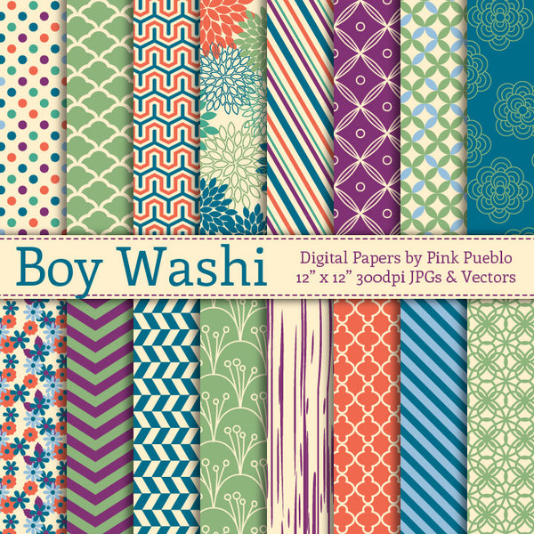 Boy Washi Digital Papers - PinkPueblo