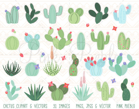 Cactus and Succulent Clipart and Vectors - PinkPueblo