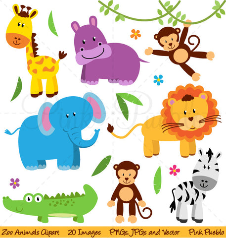 Zoo, Jungle, Safari Animals Clipart - PinkPueblo