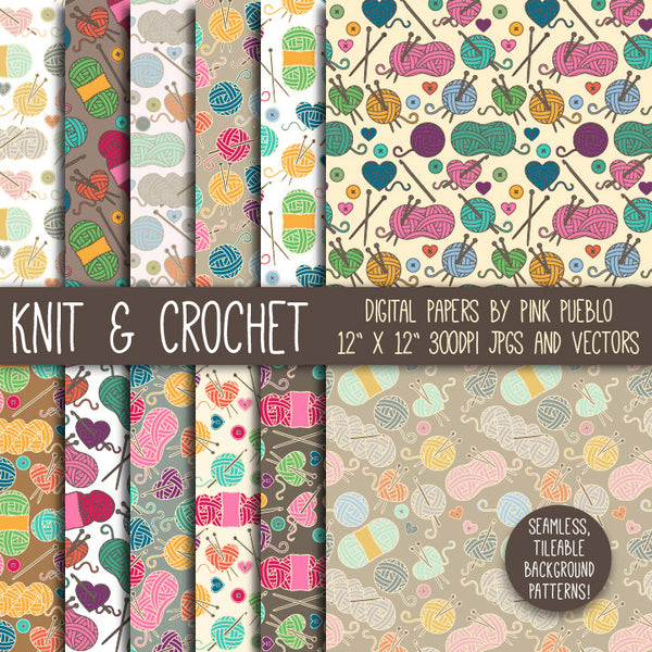 Knitting & Crochet Patterns or Digital Paper - PinkPueblo