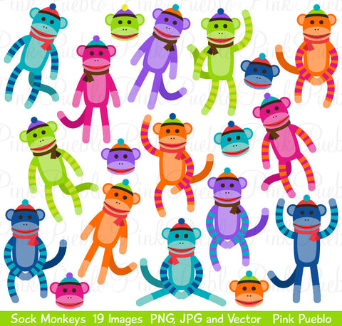 Sock Monkey Clipart and Vectors - PinkPueblo