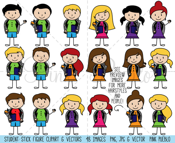 Stick Figure Students Clipart and Vectors - PinkPueblo