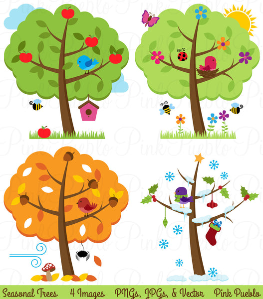 Four Seasons Trees Clipart & Vectors - PinkPueblo