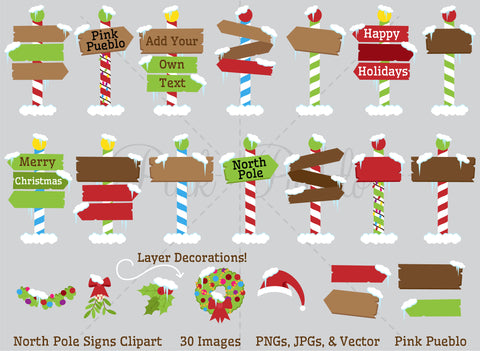 North Pole Or Santa's Workshop Signs Clipart and Vectors