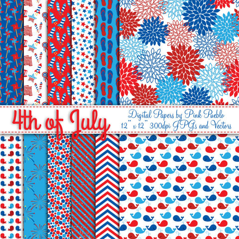 Fourth of July Papers or Backgrounds - PinkPueblo