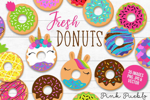 Donut Clipart and Vectors - PinkPueblo