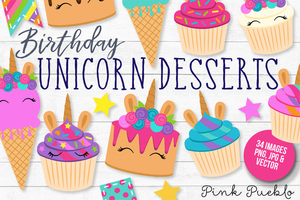 Unicorn Birthday and Cupcake Clipart - PinkPueblo
