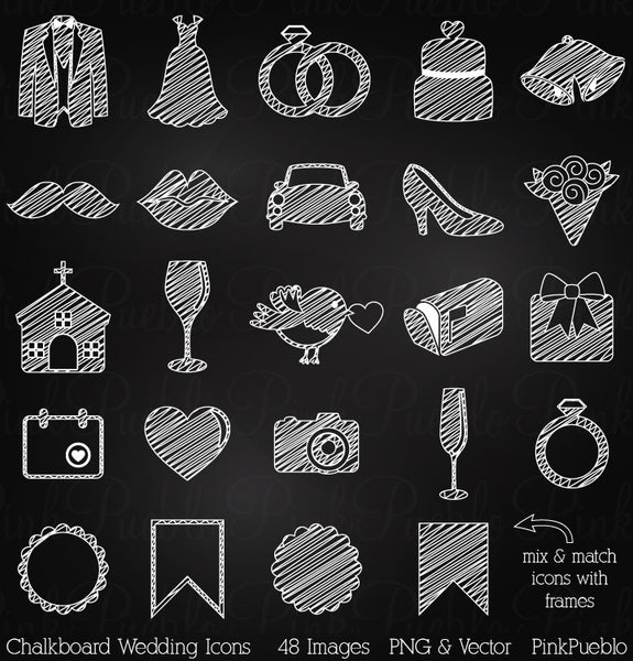 Chalkboard Wedding Icons Clipart and Vectors