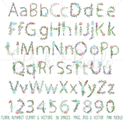Floral Alphabet Clipart and Vectors
