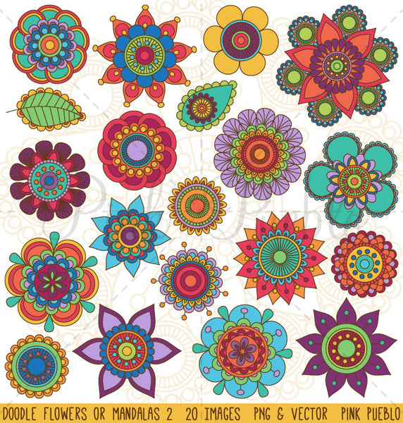 Doodle Flowers and Mandalas Clipart and Vectors - PinkPueblo