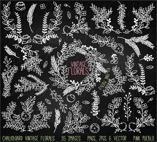 Chalkboard Vintage Florals Clipart and Vectors