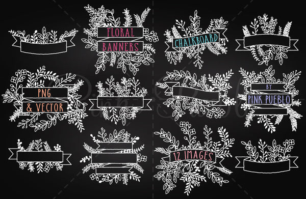 Chalkboard Floral Banners Clipart and Vectors