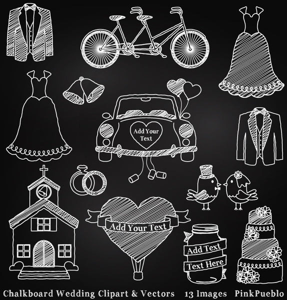 Chalkboard Wedding Clipart & Vectors - PinkPueblo